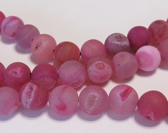 8mm Druzy type large round beads matte fuchsia hot pink color 8mm