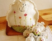 Crochet Sheep Tea Pot Cozy and  Crochet Sheep Egg Cozy (6)