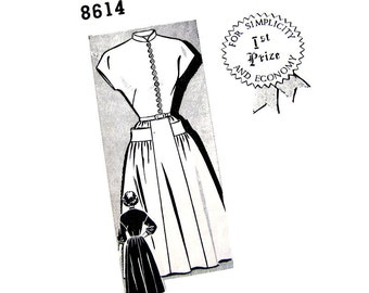 1940s Dress Pattern Mail Order 8614 Mandarin Collar Dress Button Loop Front Flared Skirt Vintage Size 13 Junior Sewing Pattern