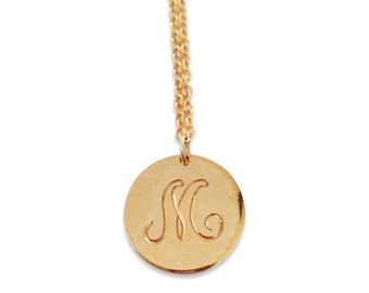 Personalized engraved initial letter necklace -  Gold engraved initial pendant - Name initial necklace in gold fill - Hand Engraved initial