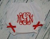 CUSTOM BOUTIQUE Monogram Personalized  BLOOMERS Diaper Cover with Bows