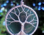 Green Tree of Life Pendant - Recycled Sterling Silver and Green Aventurine