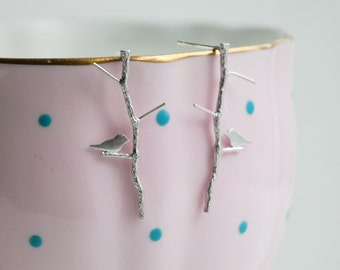 Twig Earrings Silver Branch Earrings Bird Earrings Woodland Forest Wedding Rustic Gift for Her Silver Bird on Branch Earrings Bird Jewelry