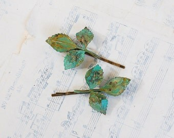 Green LEAF Branch Hair Accessories Bobby Pin Set  Leaf Woodland Wedding Green Leaves Fairy Faerie Nature Garden Wedding Bridal
