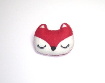 Fox Brooch - Felt Animal Accessory- Woodland Animal Cute Plush Pin Brooch - Red Fox - Fox Accessories - Valentines Day Gift