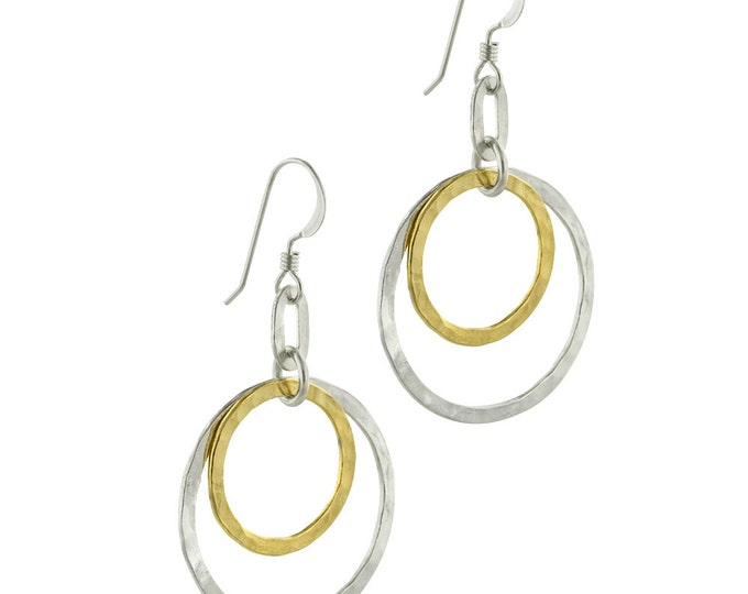 Hammered Silver and Gold Double Circle Earrings, Perfect for Everyday Wear