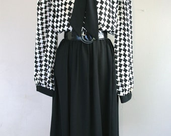 1970s 1980s Vintage Day Dress - Black White Houndstooth Dress - Secretary Dress - Professional  - by Lady Carol of New York - 40 Bust