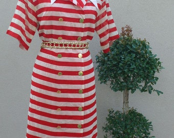 1980s Vintage Dress - Red Stripe - Louis Feraud - Classic Stripe - Wide Stripe - Nautical Military Style - Stripes - Patriotic - 40 Bust