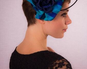 Blue tartan & rose headband