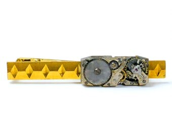 Steampunk Antique Bulova Watch Movement Brass Tie Bar Alligator Clip