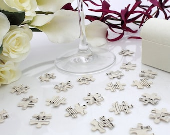 Paper jigsaw wedding confetti- 200 vintage sheet music die cut punched jigsaw pieces 2.5cm by 2cm- Great romantic table decoration