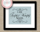 Baby Nursery Print UNFRAMED - I Am Fearfully and Wonderfully Made - Christian Scripture Bible Verse Wall Art  - 8x10 11x14 Print GN0017