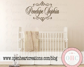 """Name Wall Decals - Personalized Baby Nursery Vinyl Wall Decals Elegant Monogram Wall Art 22h x 36"""" FN0019"""