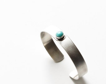 """Thin silver cuff with a gorgeous light blue amazonite stone cabochon in a simple setting, comfortable for everyday wear - """"Bayberry Cuff"""""""