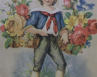 Young Boy - Hat - Knickers - Baskets of Colorful Roses - Lrg Victorian Trade Card - H. Cook Stationers -OH