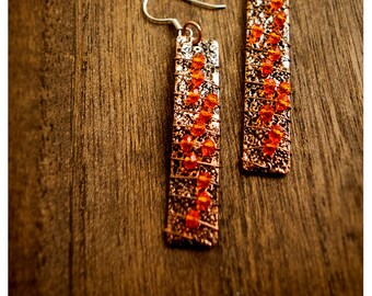 the copperteena and vine - dramatic earrings of hammered copper, glass and wire