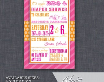 DIY Printable Invitation - Printable Vintage Girls Baby Shower Invitation, BBQ Baby Shower, Party Invitation....by Maxim Creative Invites