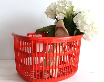 Vintage Little Red Basket Bicycle Plastic