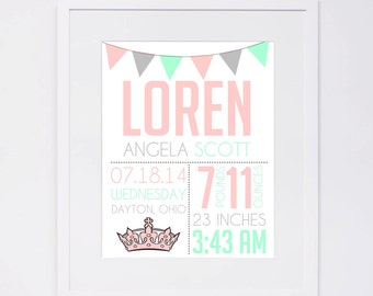 Girls Princess BIRTH STATS, {Digital File} 8x10 11x14 16x20, Birth Announcement, baby print, Name Art, wall art, nursery, printable, custom