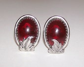 Signed Whiting and Davis Red and Silver Earrings Clip Ons