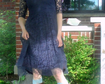 Designer Allen Peck New York Vintage 1950s lace dress and under-dress, Navy blue fancy lace sheer party dress