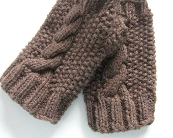 Hand Knit Cable and Seed Stitch Fingerless Mitts, Knit Texting Gloves, Knit Accessories, Made to Order Texting Gloves