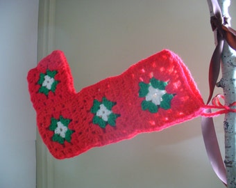Granny Square Christmas Stocking Vintage Crochet 1960's