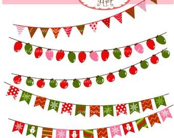 Christmas clip art,Digital clip art ,Flag Banner,christmas,christmas bunting,Bunting clip art ,instant download clip art