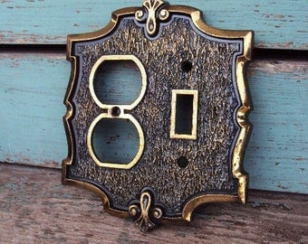 Vintage Switch Plate and Plug in Cover Bronze Metal Antique Gold 1970s