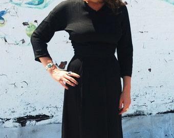 SALE Vintage 1950s HARVEY BERIN by Karen Stark Black Haute Couture Party Dress S/M