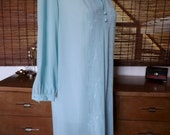 Vintage 60s Near Sheer Ice blue Embroidered Edith Flagg Midi Shift Dress L XL Free Shipping