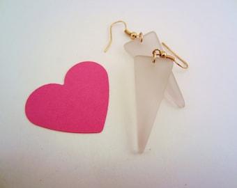 Pink sea glass earrings. Triangle earrings. Copper toned findings. Soft minty pink. Geometric jewelry. Matte glass.