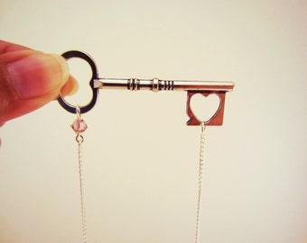 Large silver key necklace. Pale purple lavender glass bead. Long necklace. Statement jewelry. Heart, skeleton key.
