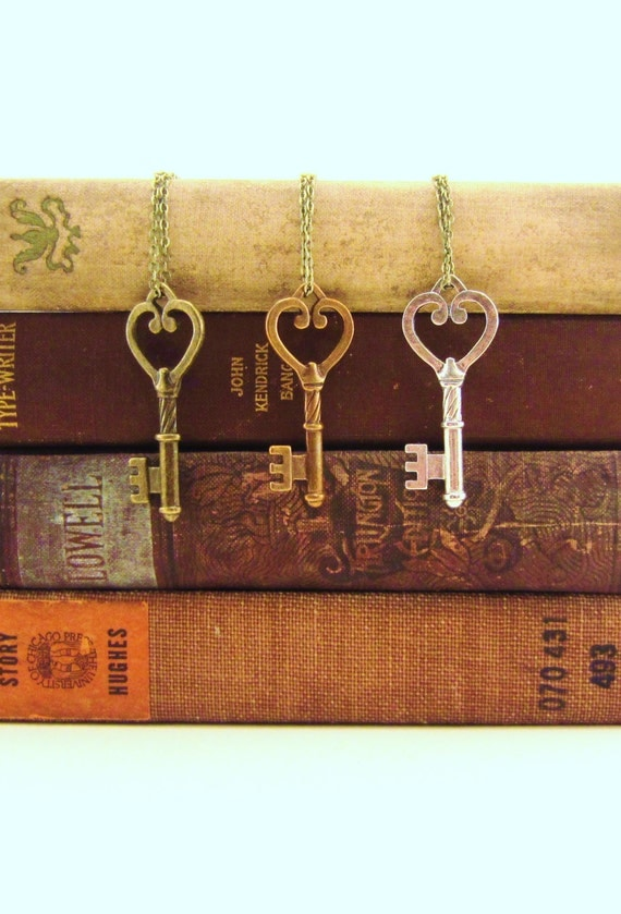 Friendship necklace, best friend gift. Skeleton keys. Two or three. Bronze, copper, silver. Key to my heart. Small heart.