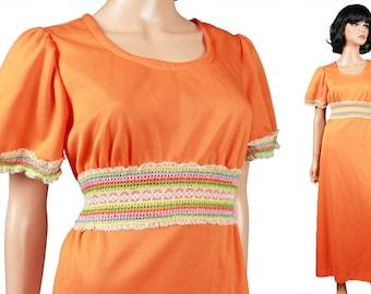 Orange Hippie Dress Sz L - Vintage 70s Long Rainbow Empire Waist Short Sleeve Dress Size Large FREE US Shipping