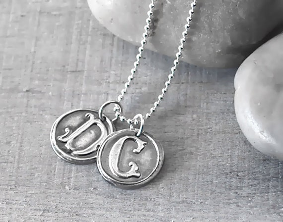 Two Personalized Wax Seal Initial Necklace  -  Sterling Silver Vintage Font Wax Seal Initial Necklace - Customized with Two Letters