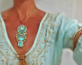 Long Turquoise & Gold Pendant -King tut Egyptian Inspired Pendant Necklace Wire Wrapped by Sharona Nissan 4063-56s