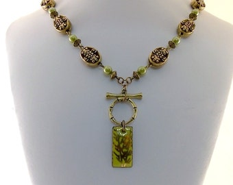 Lime Green Bamboo Necklace - Antique Gold Necklace - Brass Necklace - Czech Glass Necklace - Antique Brass Necklace - Bamboo Necklace
