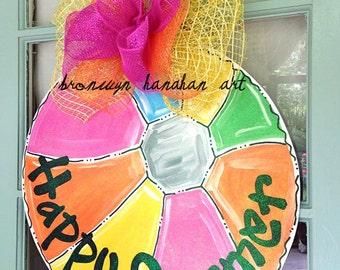 Happy Summer Beach Ball Door Hanger - Bronwyn Hanahan Art