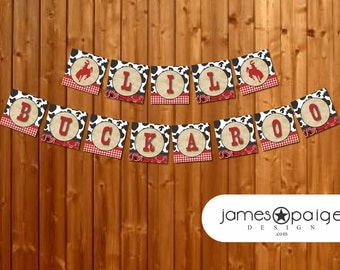 """INSTANT DOWNLOAD: Cowboy Western Themed Baby Shower Banner - """"Lil Buckaroo"""""""