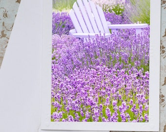 Lavender Photo Notecard - Chair Among Lavender Field Note Card, French Floral Photo Notecard, Stationery, Blank Notecard