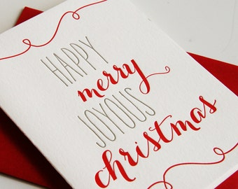 Letterpress Holiday Card Letterpress Christmas Cards - Merry Joy Xmas