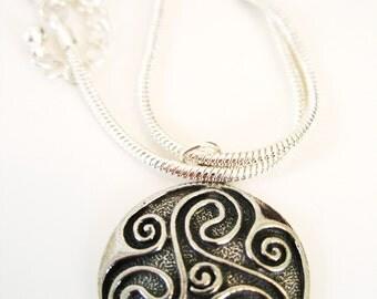 Celtic TRISKELION Antique Pewter  Pendant  Silver  IRISH Necklace