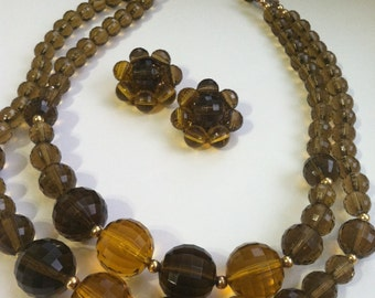 Vintage 50's Amber LUCITE  Double Strand NECKLACE & Clip on earring Set