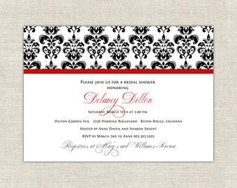 Holiday Red Damask Bridal Shower Invitation
