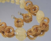Vintage V LUCITE and Gold Mesh Necklace Set / Lucite Necklace and Earrings / Jewelry Signed V / Couture Gold Necklace Set