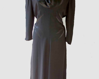 1940s Black Wool Crepe Dress, 1940s Silhouette Dress, Vintage Dresses