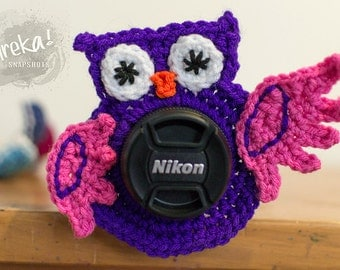 Crocheted Owl Lens Buddy - made to order