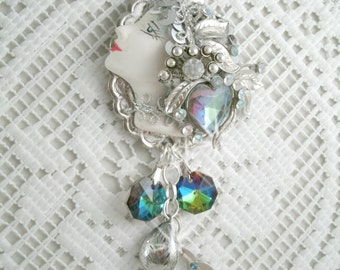 Silver Plated Tear Drop Fashion Girl Silver Fashion Lady Necklace Vintage  Concho Crystal Rhinestones Silver plated Jewelry pieces