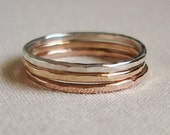 Three Solid 14k Gold Stack Rings - Rose Gold - White Gold - Yellow Gold - Hammered Stacking Rings - Mixed Metals - Delicate
